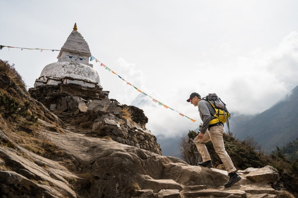 Pete Athans hiking up the Khumbu valley during the Everest VR expedition production